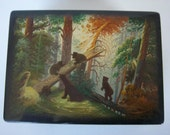 Vintage Russian Lacquer Box with Bears in the Woods by Fedoskino Artist highly collectible
