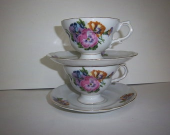 Vintage Footed Teacups & Saucers by Royal Sealy China of Japan with Pansies Design set of two