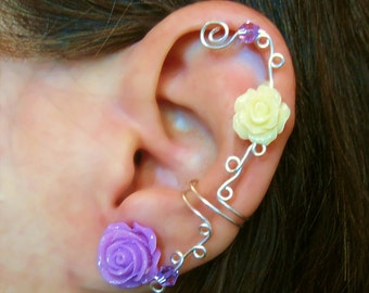 """Non Pierced Cartilage Cuff  """"Roses are Feminine"""" Ear Conch Cuff Color Choices Wedding Prom Quinceanera"""