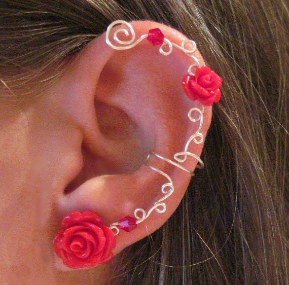 items similar to non pierced ear cuff quot roses are
