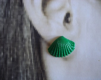 Green Sea Shell/Seashell   Polymer Clay Post/Stud Earrings Set On Sterling Silver Post Size 25mm