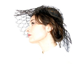 Vintage Hat . 1950s Spider Web Mesh Sun Hat