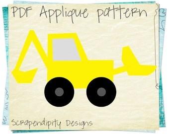 Bulldozer Applique Template - Construction Applique Design / DIY Boys Kids Quilt Pattern / PDF Toddler Bulldozer Shirt AP173-D