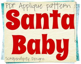 Santa Applique Pattern - Christmas Applique Template / Christmas Shirt Design / Santa Toddler Applique / Kids Baby Clothing Pattern AP105-D