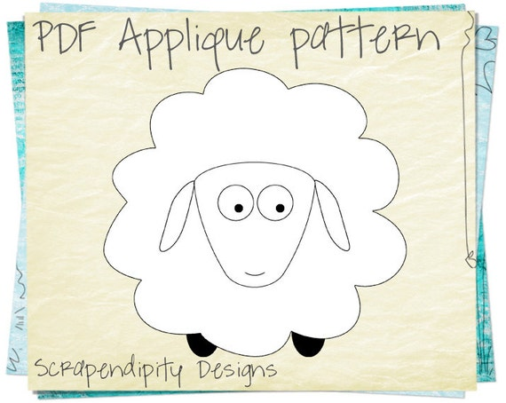 Sheep Applique Pattern - Animal Applique Template / Kids Baby Clothing ...