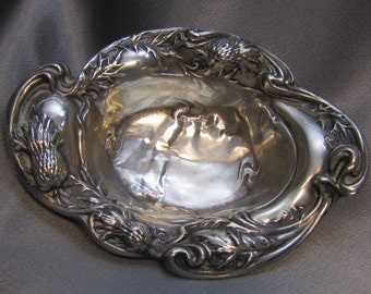 Antique Art Nouveau Sterling Dish with Thistle Flower Design