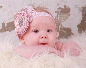 Pink Gray Vintage Lace Newborn Headband, Vintage Photo Prop, Flower Girl Wedding, Newborn Baby Toddler Child Girls Headband