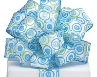 "Cute 1-1/2""W x 5YDS Wired Edge Satin Ribbon Blue Lime Green PolkaDots Circles"
