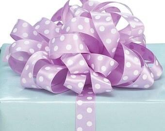 """Lovely 5/8""""W x 5YDS Satin Ribbon Lavender Purple w/ White Polka Dots Polkadot"""