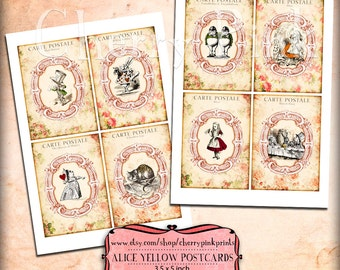 Alice in Wonderland postcard collage sheet, vintage postcard, digital collage sheet, digital download for scrapbooking, party printables.