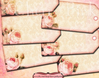 Pink Rose Tags, tea party digital tag, digital scrapbook supplies, digital download printable