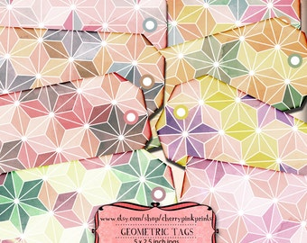 GEOMETRIC PATTERN tags, digital party Tags, party printables, labels, perfect for parties, presents and invitations.
