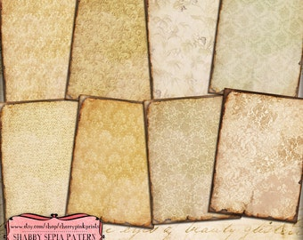 SHABBY SEPIA PATTERN Digital collage sheet  8 designs, scrapbook supplies collage digital download hang tags