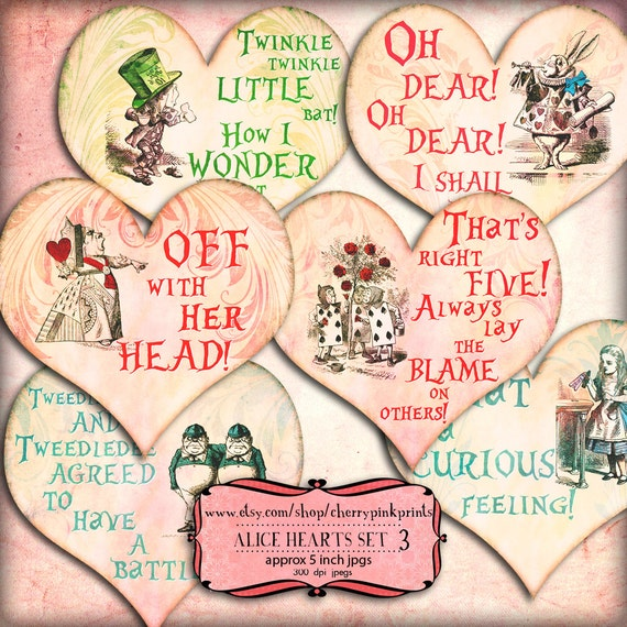 Alice in Wonderland Heart Collage Sheet