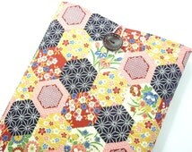 Pretty Macbook 11 Sleeves, Unique Gift For Her, Handmade Laptop Covers, Japanese Kimono Cotton Fabric Hexagon Flowers Pink Limited stock