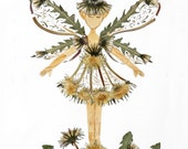 Dandelion Fairy - Pressed Flower Fairy Art - Faery Wings - 8 x 10 Print - A Magical Woodland Fairy Sprite made from Pressed Flower Blossoms