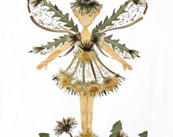 "Magical ""Dandelion Faery"" Flower Sprite - 8 x 10 Fine Art Giclee Fantasy Print"