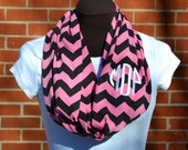 Chevron Infinity Scarf Monogrammed Hot Pink and Black Knit Jersey