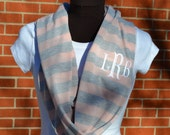 Monogrammed Infinity Scarf Pink and Gray Stripe Knit Jersey