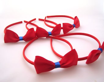Set of 5 - Red Headbands With Red Satin Bows -Snow White Party Favors