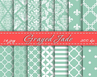 INSTANT DOWNLOAD - Grayed Jade Digital Papers,   Digital Downloads, Cardmaking, Scrapbook Paper