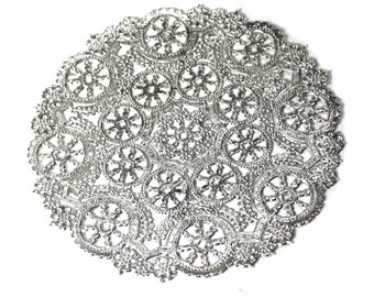 100 Silver 10 inch doilies, paper doilies,  wedding invitation liner, foil paper doily, paper craft supply