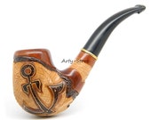 "US Navy - Tobacco Smoking pipe ""USN Anchor"" Carved of Pear Wood, Great Collectibe plus Pouch"