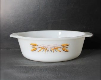 Vintage Fire-king Casserole with wheat pattern