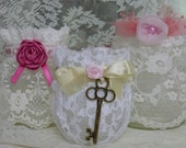 Romantic Lacy Votives, White Cream Pink, Bella Line, Set Of 3