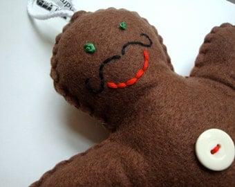 Giant GMan // Moustache Felt Plush Gingerbread Man Decoration // Ready to Ship