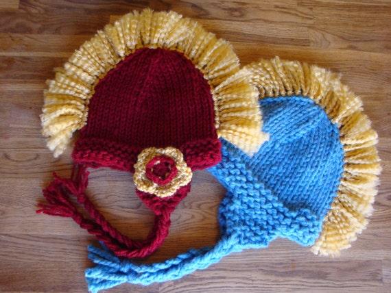 Kids Earflap Hat with Colorful Mohawk - USC Trojan / UCLA Mohawk Hat