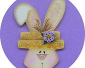 Easter Bunny Pin/Magnet Spring Hand Painted Wood