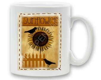 Sunflower and Crows Mug