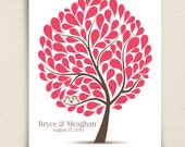 Guest Book Owls - The Hootwik - A Peachwik Personalized Art Print - 100 guest sign in - Companion Owls in a Tree