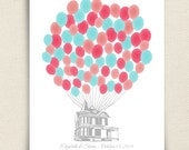 Personalized Guest Book Alternative - The Signature Housewik - A Peachwik Personalized Print - 75 guest sign in -  Balloons & Floating House