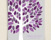 Guest Book Alternative - The Wishwik Multi Tree - A Peachwik Interactive Print - 75 guest sign in - eggplant, grey - Wedding Guestbook Tree