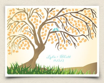 Guest Book Willow Tree - The Willowik Tree - A Peachwik Print - 150 guest sign in - Rustic Thumbprint Fingerprint Tree Guestbook