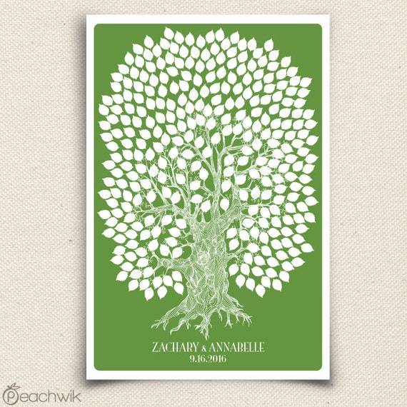 Wedding Guest Book Tree - The Oakwik - A Peachwik Personalized Art Print - 300 guest sign in - Wedding Oak Tree Rustic Guestbook