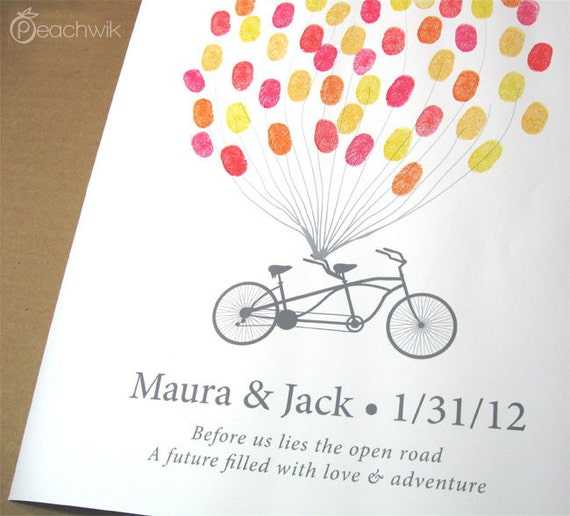 Guest Book Alternative - The Thumbprint Bikewik - A Peachwik Personalized Art Print - 50 guest sign in - Fingerprint Balloons & Bike