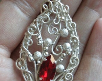 Crimson Lake - ruby red glass marquise silver plated wire wrapped pendant