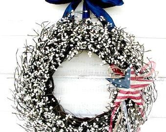 PATRIOTIC White Berry Wreath-Military Door Wreath-July 4th Door Decor-Patriotic Decor-Scented Baked Apple Pie-Choose Scent and Ribbon