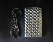 Vintage 80s Silver Metalic Quilted Vinyl Shoulder Bag Clutch Detatchable Strap Small