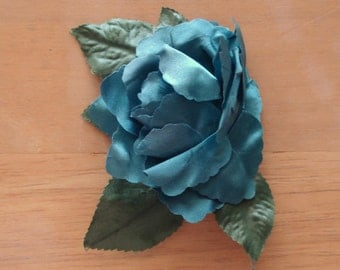 MANGELSEN'S Floral Craft Supply Satin ROSE Flower In Teal.