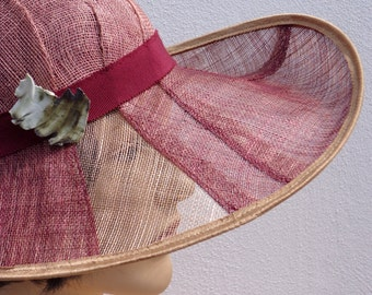 Flapper hat, pink-burgundy cloche with veil effect, wedding hat, sun hat, retro hat, vintage style, 20s hat, garden party, great Gatsby
