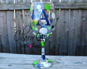 Personalized Wine Glass 20 oz seahawks seattle football