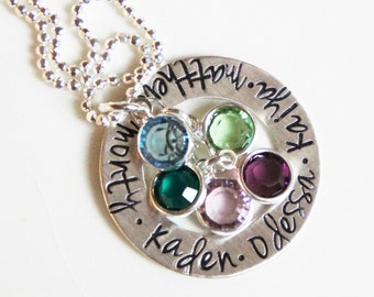 Mothers Necklace Personalized Name Sterling Silver Mommy Jewelry Custom Birthstone Stamped Gift for Her Mother's Day