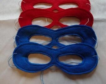 SALE Kids Superhero Masks Package of Four Pick your colours