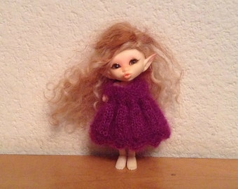 April Showers Purple Mohair Knitted Dress for Fairyland Realpuki