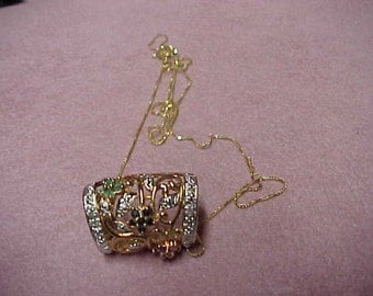 """Vintage Slide Pendant, 3 Flowers Natural Gemstones: Emeralds, Rubies and Sapphires. Approx.  .60 Carat, 14K YG over S.S., 18"""" Gold Chain"""