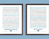 Custom Wedding Vows, Personalized Print, Set of two prints (song lyrics, poem, vows ) Wedding gift, Anniversary gift, Custom colors